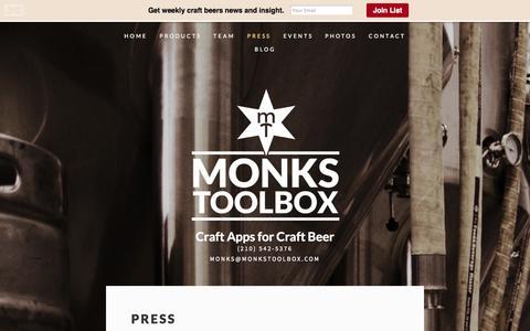 Screenshot of Press Page monkstoolbox.com - Press — MONKS TOOLBOX - captured Oct. 27, 2014