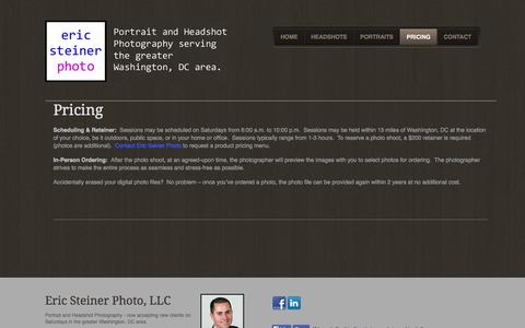 Screenshot of Pricing Page ericsteinerphoto.com - Pricing - eric steiner photo, LLCEric Steiner Photo, LLC - captured Oct. 2, 2014