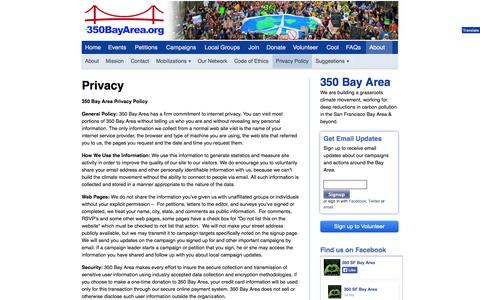 Screenshot of Privacy Page 350bayarea.org - Privacy - 350 Bay Area - captured Oct. 7, 2014