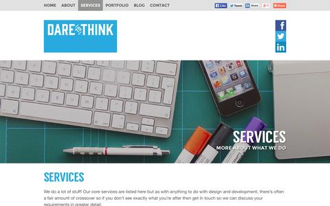 Screenshot of Services Page daretothink.co.uk - Design and Development Services | Dare to Think - captured Sept. 22, 2014