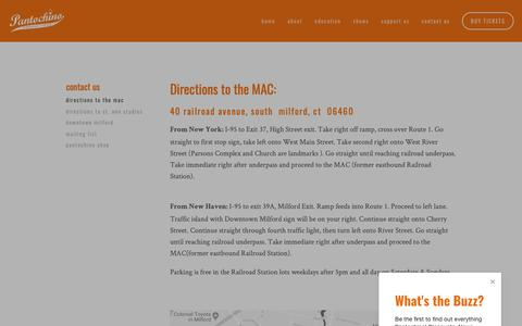 Screenshot of Maps & Directions Page pantochino.com - Directions to the MAC — Pantochino Productions Inc. - captured Sept. 26, 2018