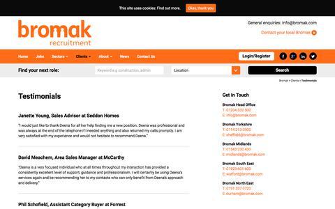 Screenshot of Testimonials Page bromak.com - Testimonials - Bromak - captured Oct. 11, 2017