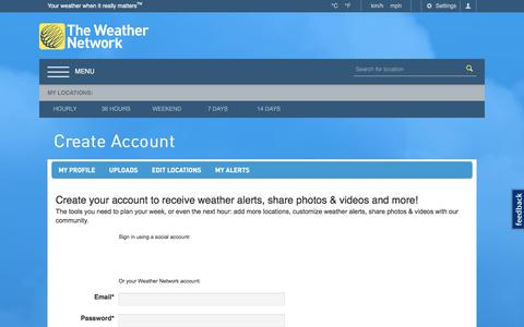 Screenshot of Signup Page theweathernetwork.com - Create Account - The Weather Network - captured July 14, 2018