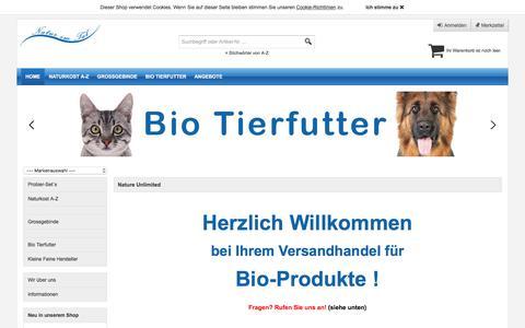 Screenshot of Home Page nature-unlimited.de - Naturkost und Bio Feinkost im bundesweiten Versand - captured June 14, 2018