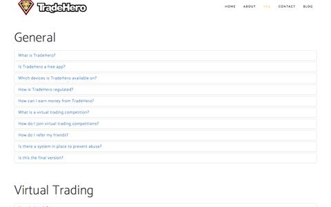 Screenshot of FAQ Page tradehero.mobi - FAQ | Gamified social trading - captured May 10, 2017