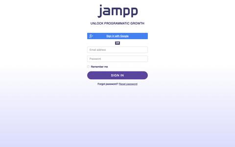 Screenshot of Login Page jampp.com - Jampp - captured May 23, 2019