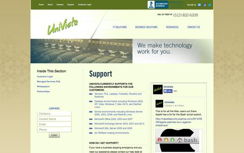 Screenshot of Support Page univista.com - UniVista Support - captured Oct. 7, 2014
