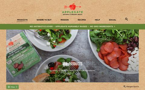 Screenshot of Products Page applegate.com - Products - Fresh, Deli and Frozen - Applegate - captured July 30, 2018