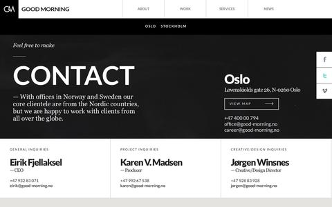 Screenshot of Contact Page good-morning.no - Good Morning |   Contact - captured Sept. 22, 2014