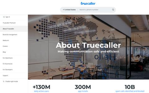 Screenshot of About Page truecaller.com - About Truecaller - captured May 22, 2019