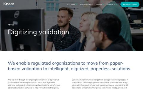 Screenshot of About Page kneat.com - Making validation faster, easier and smarter | About | Kneat - captured Oct. 15, 2018
