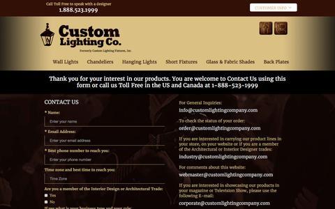 Screenshot of Contact Page customlightingfixtures.com - Custom Lighting Company - Contact Us - captured Nov. 14, 2016