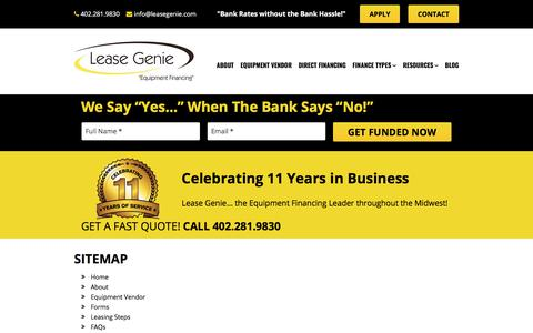 Screenshot of Site Map Page leasegenie.com - Sitemap - captured July 17, 2018