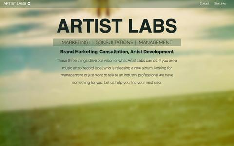 Screenshot of Home Page artistlabsmusic.com - Artist Labs | Artist Development, Music Consultation, Brand Building - captured Oct. 4, 2014