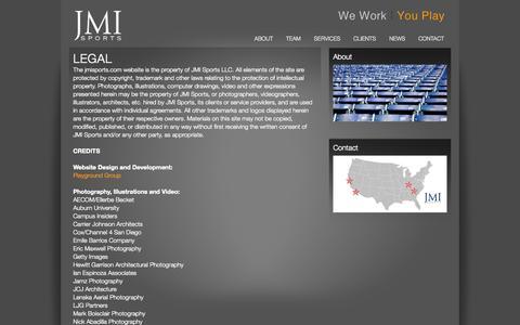 Screenshot of Terms Page jmisports.com - LEGAL - JMI Sports - captured Sept. 30, 2014