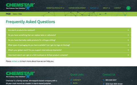 Screenshot of FAQ Page chemstar.com - FAQs / Chemstar - captured Sept. 27, 2018