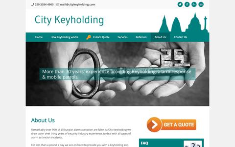 Screenshot of About Page citykeyholding.com - About Us - City Keyholding - captured Nov. 10, 2018