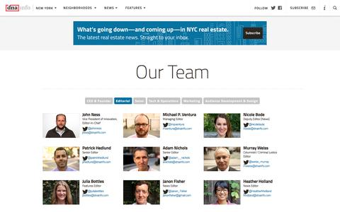 Screenshot of Team Page dnainfo.com - Editorial Team - About Us  - DNAinfo New York - captured Nov. 23, 2016