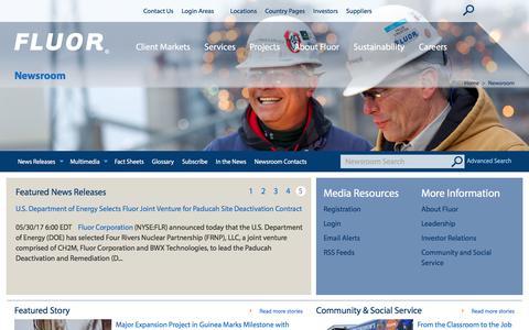 Screenshot of Press Page fluor.com - Fluor Newsroom | - captured July 25, 2017