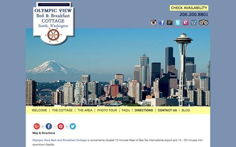 Screenshot of Contact Page Maps & Directions Page olympicviewbb.com - Waterfront Lodging in Seattle with Views of Puget Sound - captured June 16, 2016