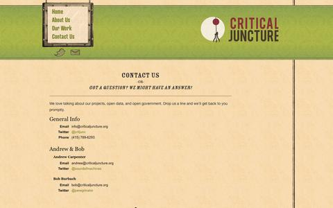 Screenshot of Contact Page criticaljuncture.org - Critical Juncture :: Contact Us - captured Oct. 27, 2014
