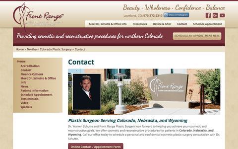 Screenshot of Contact Page frontrangeplasticsurgery.com - Plastic Surgeon Colorado, Nebraska, Wyoming | Contact - captured Oct. 14, 2017