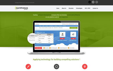 Screenshot of Home Page synthesys.co.in - Synthesys Solutions Pvt. Ltd. :: Education :: Synthesys Solutions Pvt. Ltd. is         a Software development Company that can develop Customized Softwares on any platform         and of any magnitude. - captured Oct. 6, 2014