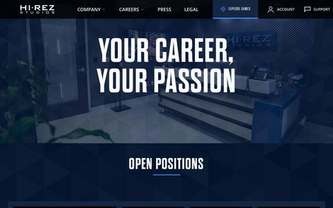 Screenshot of Jobs Page hirezstudios.com - Careers - captured Aug. 12, 2019