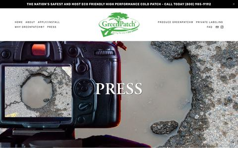 Screenshot of Press Page greenpatch.com - Press — GreenPatch - captured Nov. 10, 2018