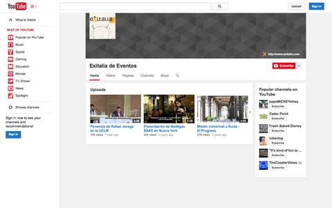 Screenshot of YouTube Page youtube.com - Exitalia de Eventos  - YouTube - captured Oct. 23, 2014