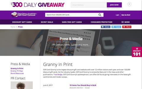 Screenshot of Press Page giftcardgranny.com - Gift Card Granny Press Information - captured June 22, 2017