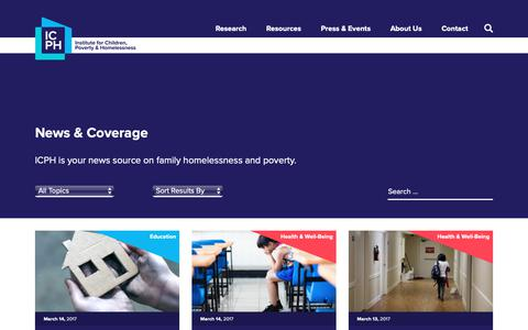 Screenshot of Press Page icphusa.org - Institute for Children, Poverty & Homelessness - captured Oct. 12, 2018