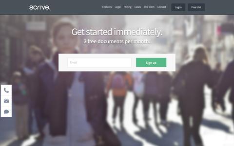 Screenshot of Trial Page scrive.com - Scrive - captured Sept. 23, 2014