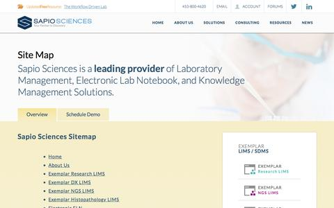 Screenshot of Site Map Page sapiosciences.com - Sapio Sciences Sitemap - captured Nov. 17, 2016