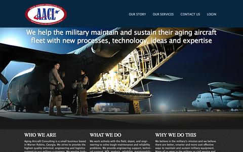 Screenshot of Home Page aacl.aero - Aging Aircraft Consulting LLC - Maintenance and Sustainment Solutions for Military & Aging Aircraft - captured Oct. 4, 2014