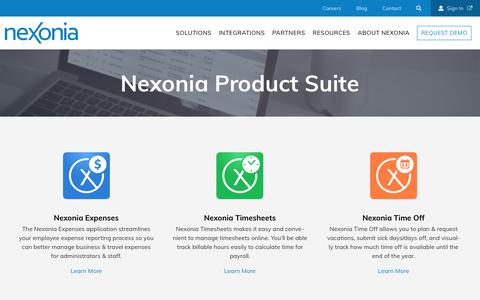 Screenshot of Products Page nexonia.com - Products | Nexonia - captured June 19, 2018