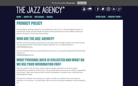 Screenshot of Privacy Page thejazzagency.co.uk - Privacy Policy - The Jazz Agency The Jazz Agency - captured Sept. 21, 2018