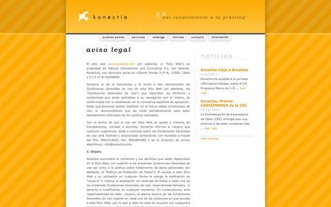 Screenshot of Terms Page konectia.com - konectia - del conocimiento a la práctica - captured Oct. 1, 2014