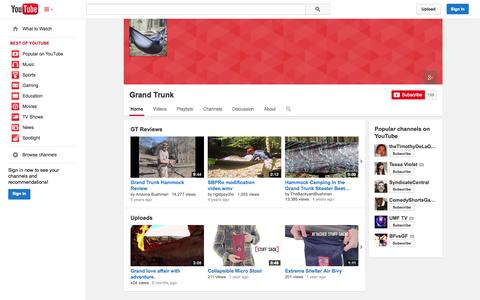 Screenshot of YouTube Page youtube.com - Grand Trunk  - YouTube - captured Oct. 23, 2014