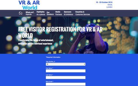 Screenshot of Landing Page knect365.com - VR & AR World Register - captured Oct. 29, 2016