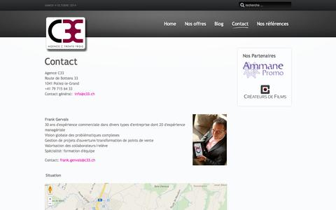 Screenshot of Contact Page c33.ch - Prenez contact avec l'agence C33 - captured Oct. 4, 2014