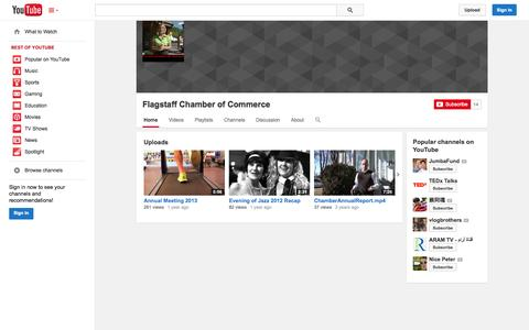 Screenshot of YouTube Page youtube.com - Flagstaff Chamber of Commerce  - YouTube - captured Oct. 23, 2014
