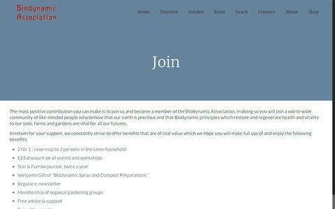 Screenshot of Signup Page biodynamic.org.uk - Join | Biodynamic Association - captured Nov. 22, 2016