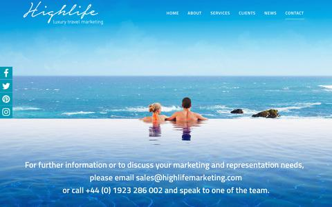 Screenshot of Contact Page highlifemarketing.com - CONTACT - Highlife Marketing - captured Sept. 28, 2018