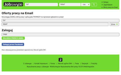 Screenshot of Signup Page jobswype.pl - Praca - Oferty Pracy - Praca w Polsce - Jobswype - captured Nov. 20, 2017