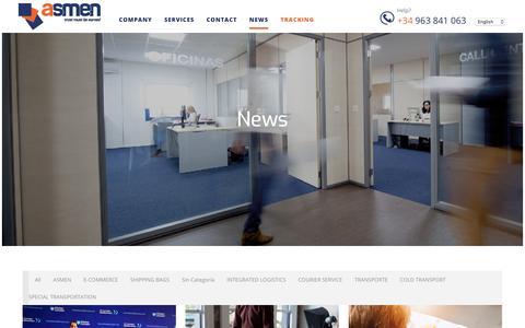 Screenshot of Press Page asmen.es - Noticias - Asmen | Mensajería, logística y transporte - captured Oct. 4, 2018