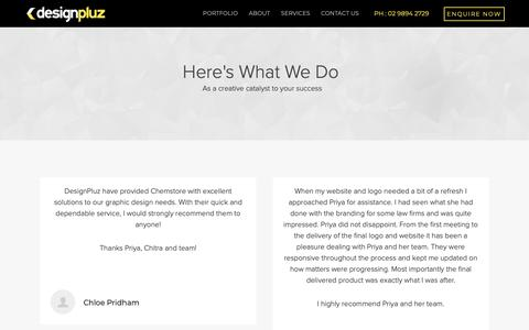 Screenshot of Testimonials Page designpluz.com.au - Testimonials - captured June 13, 2019