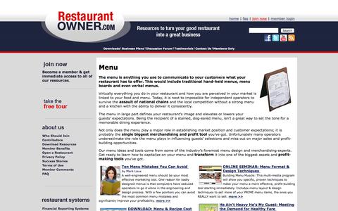 Screenshot of Menu Page restaurantowner.com - Menu - captured Jan. 17, 2016