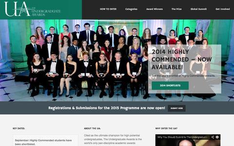 Screenshot of Home Page undergraduateawards.com - Undergraduate Awards - captured Sept. 19, 2014