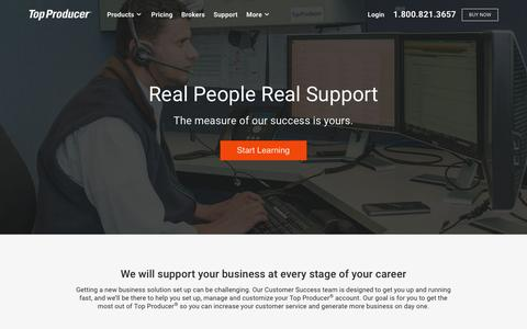 Screenshot of Support Page topproducer.com - Support - Top Producer Systems - captured Sept. 6, 2016